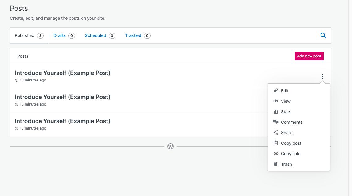 Wordpress edit post interface